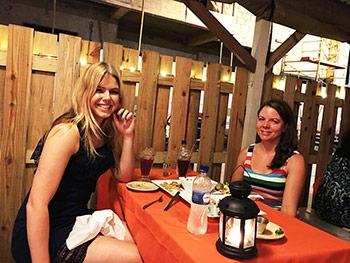 Girls having Belizean Food at El Fogon