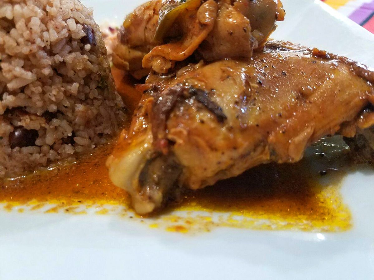 Stew Chicken Rice and Beans, Our Main Belizean Food at El Fogon