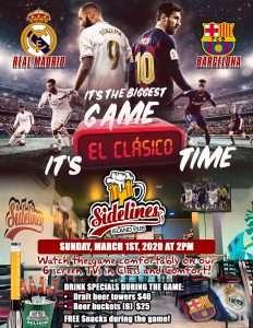 El Clasico - Real Madrid vs Barcelona @ Sidelines Island Pub
